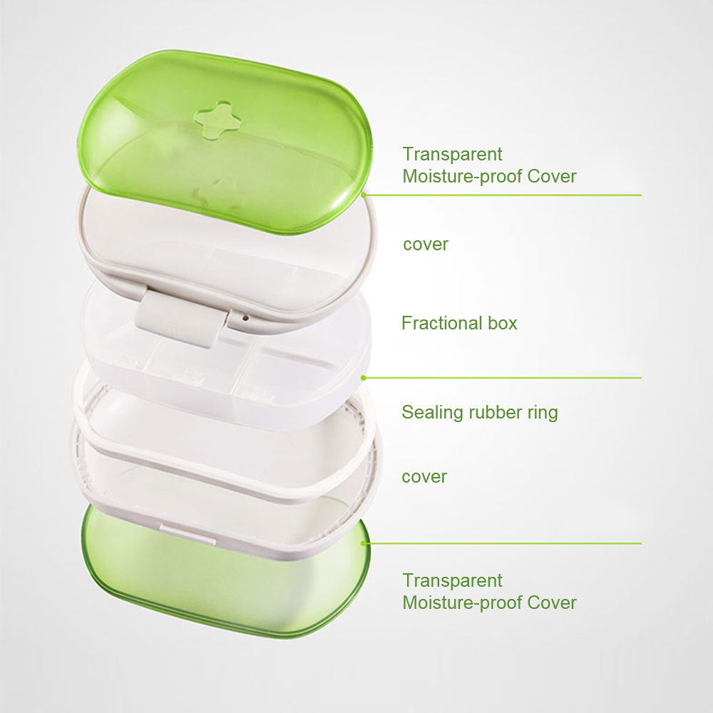 Easy Carry Divided Pill Case with Snap Lid, Tight Lock 6 Compartment Pill Organizer Box for Weekly Use 7