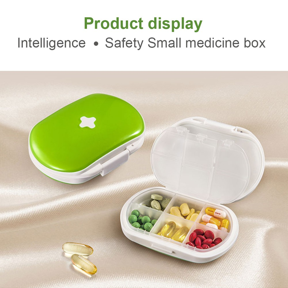 Easy Carry Divided Pill Case with Snap Lid, Tight Lock 6 Compartment Pill Organizer Box for Weekly Use 6