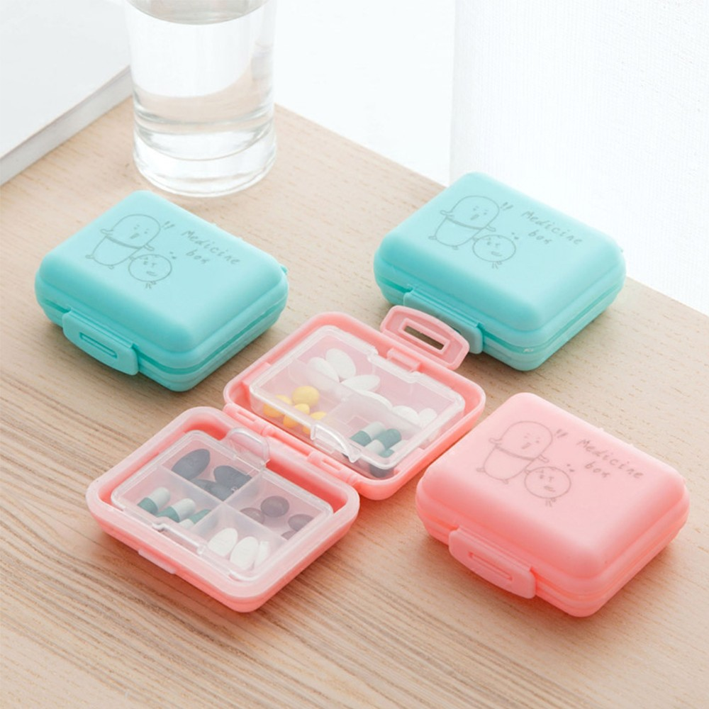 Outdoor Double Layer Pill Box With 7 Slots, Waterproof Lovely Pill Organizer For travel Or Weekly Use 7