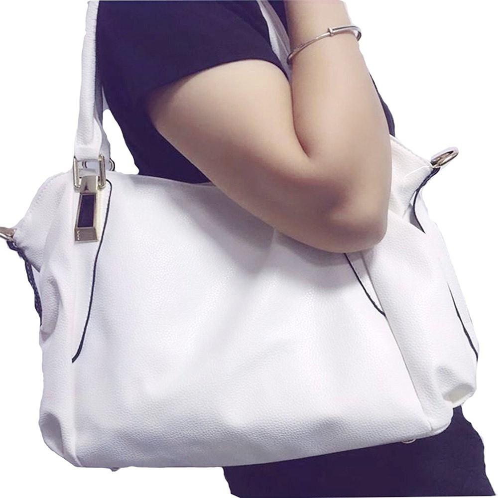 Women's Leather Tote Handbag, Elegant White Shoulder Bag and Ladies Tote Bag 6