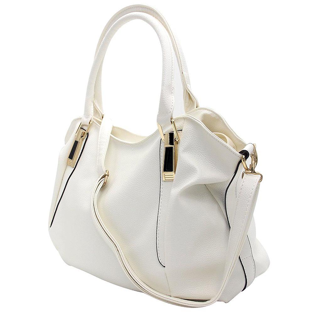 Women's Leather Tote Handbag, Elegant White Shoulder Bag and Ladies Tote Bag 7