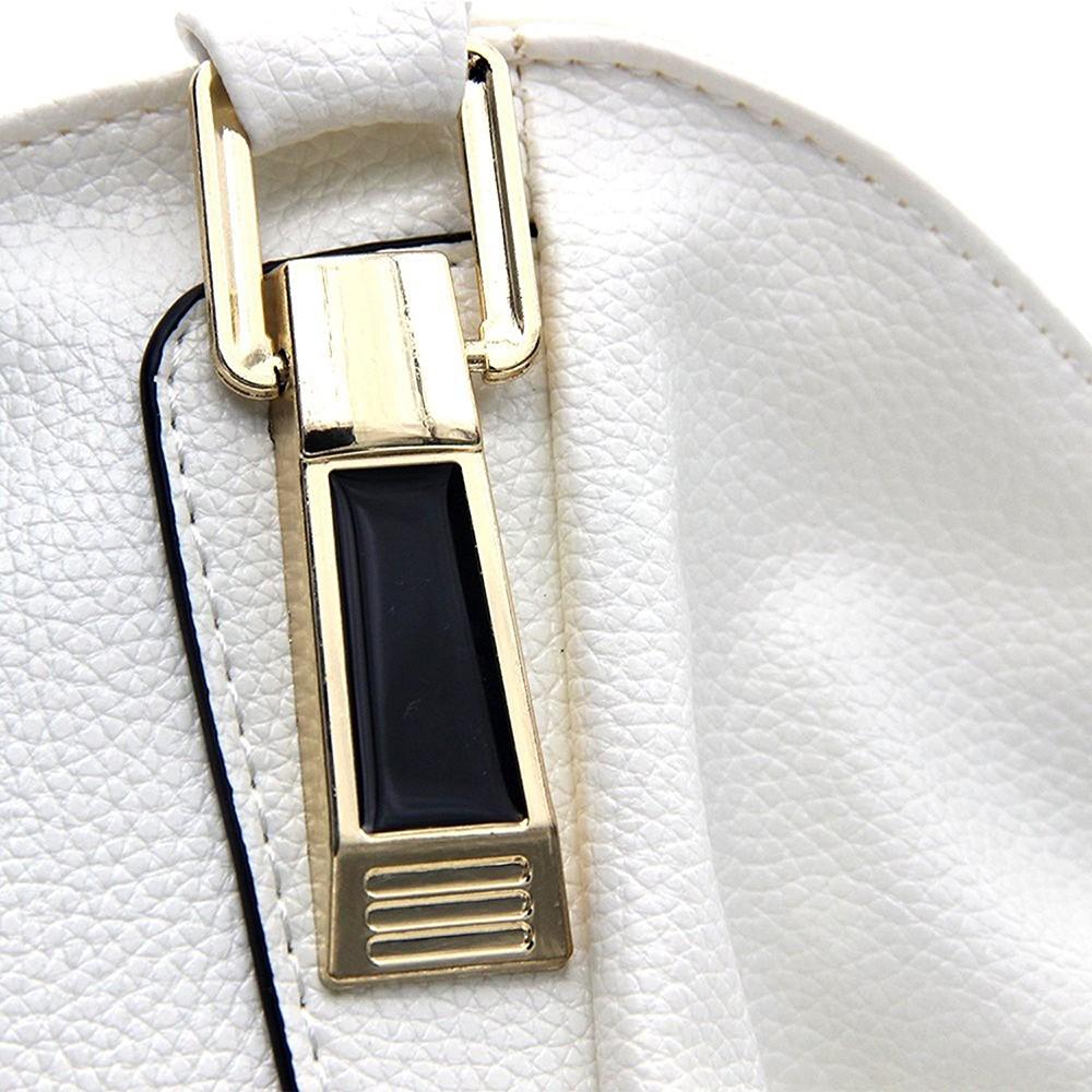Women's Leather Tote Handbag, Elegant White Shoulder Bag and Ladies Tote Bag 10