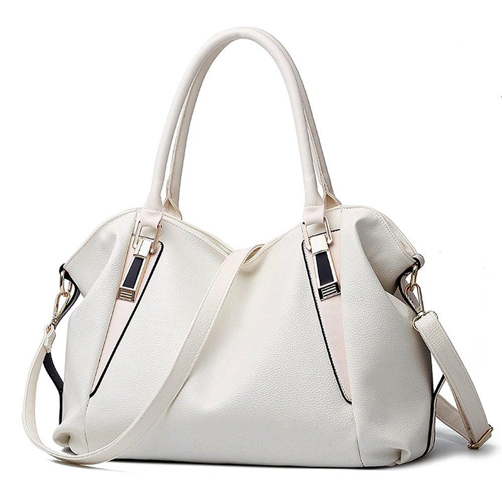 Women's Leather Tote Handbag, Elegant White Shoulder Bag and Ladies Tote Bag 8