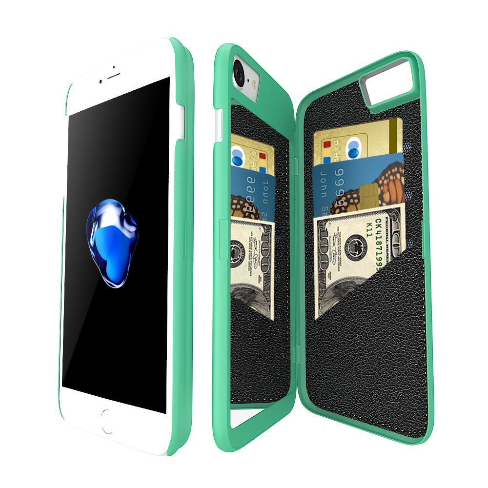 iPhone 7/ iPhone 8 Wallet Case for Women, Hidden Back Mirror Wallet Case with Stand Feature and Card Holder for Apple iPhone 7/iPhone 8 10