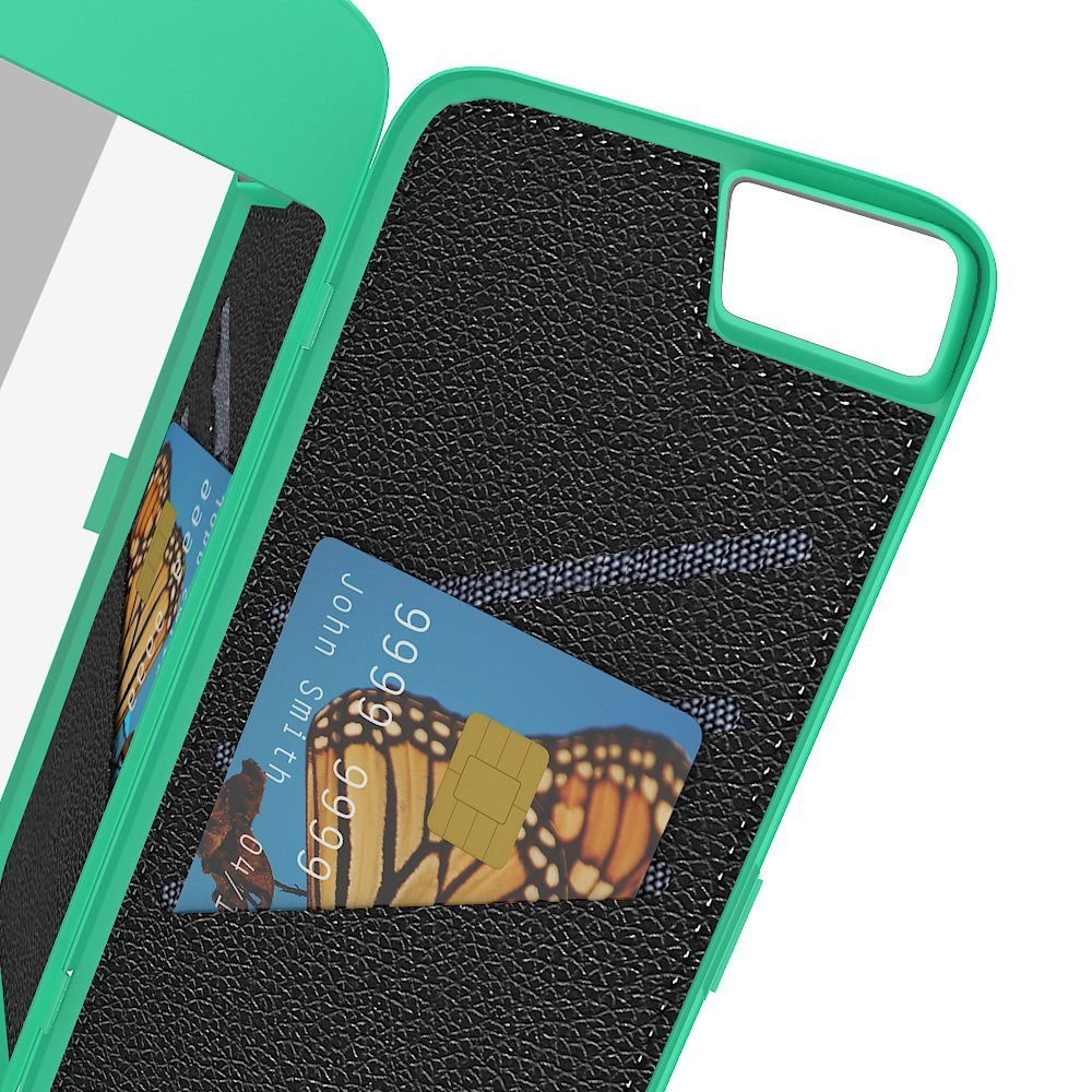 iPhone 7/ iPhone 8 Wallet Case for Women, Hidden Back Mirror Wallet Case with Stand Feature and Card Holder for Apple iPhone 7/iPhone 8 9