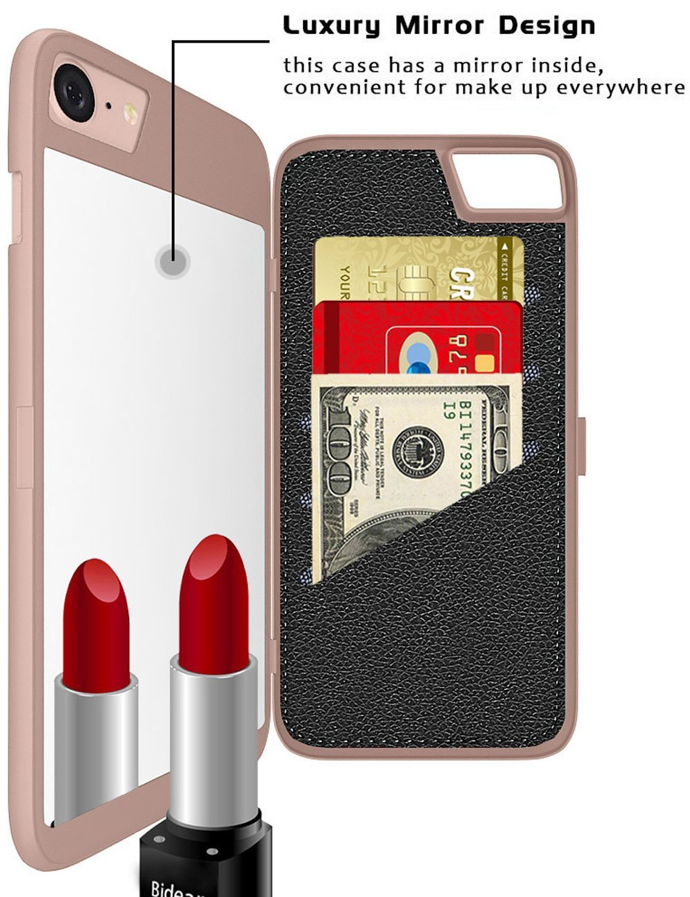 Mirror Wallet Case for iPhone 7/iPhone 8  4.7 Inches, iPhone 7/iPhone 8 Protective Hard Cover Case with Card Slot and Kickstand feature for Women 7