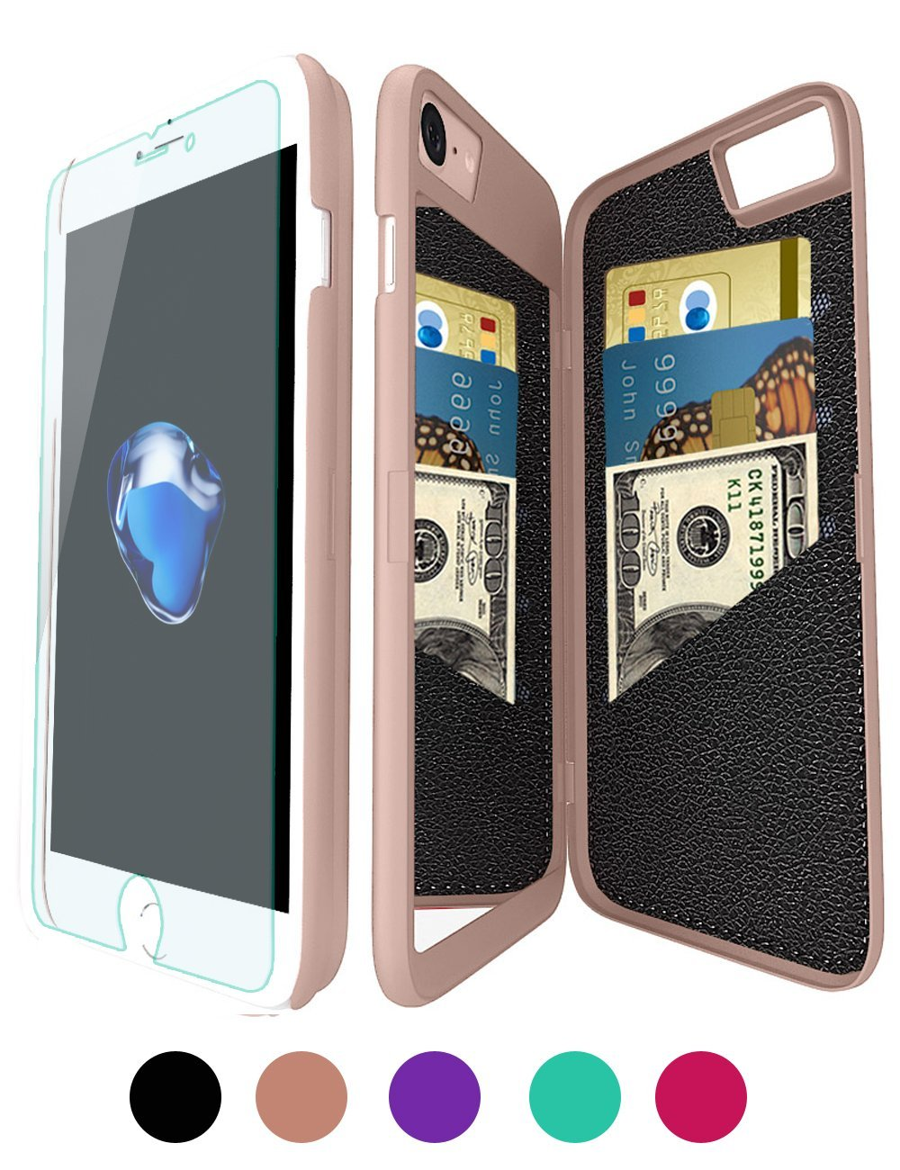 Mirror Wallet Case for iPhone 7/iPhone 8  4.7 Inches, iPhone 7/iPhone 8 Protective Hard Cover Case with Card Slot and Kickstand feature for Women 12