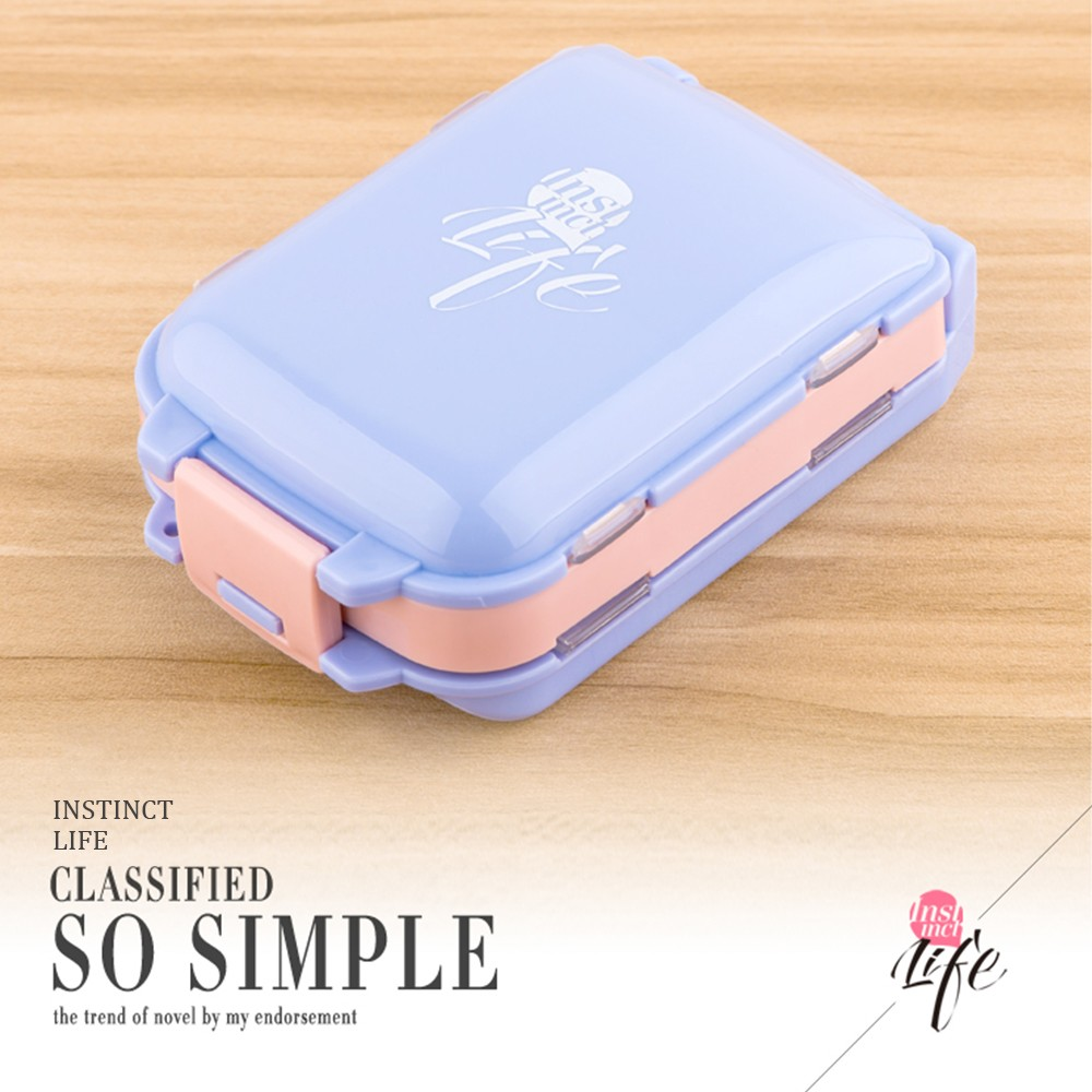 Portable Travel Pill Box for Purse and Pocket, Foldable 3 Layers Pill Organizer with 8 Compartments for Weekly use 9