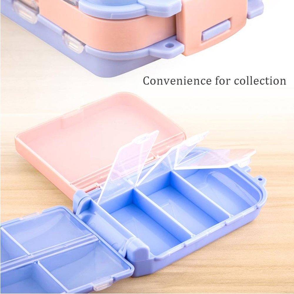 Portable Travel Pill Box for Purse and Pocket, Foldable 3 Layers Pill Organizer with 8 Compartments for Weekly use 8