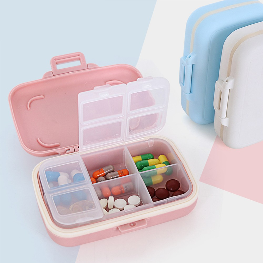 Waterproof Weekly Pill Box With 6 Removable Compartments, Ideal for Medication, Vitamin, Supplement 6