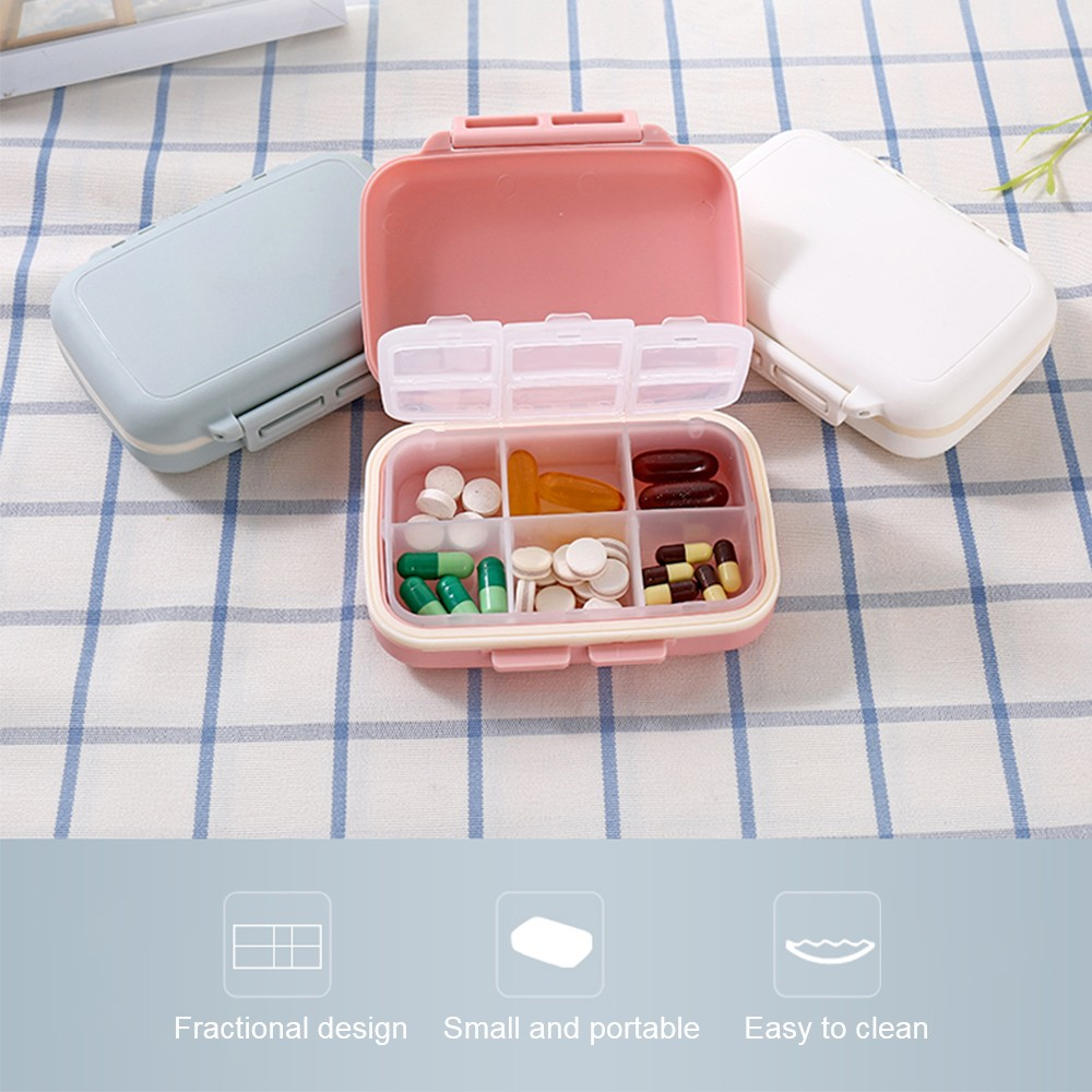 Waterproof Weekly Pill Box With 6 Removable Compartments, Ideal for Medication, Vitamin, Supplement 8
