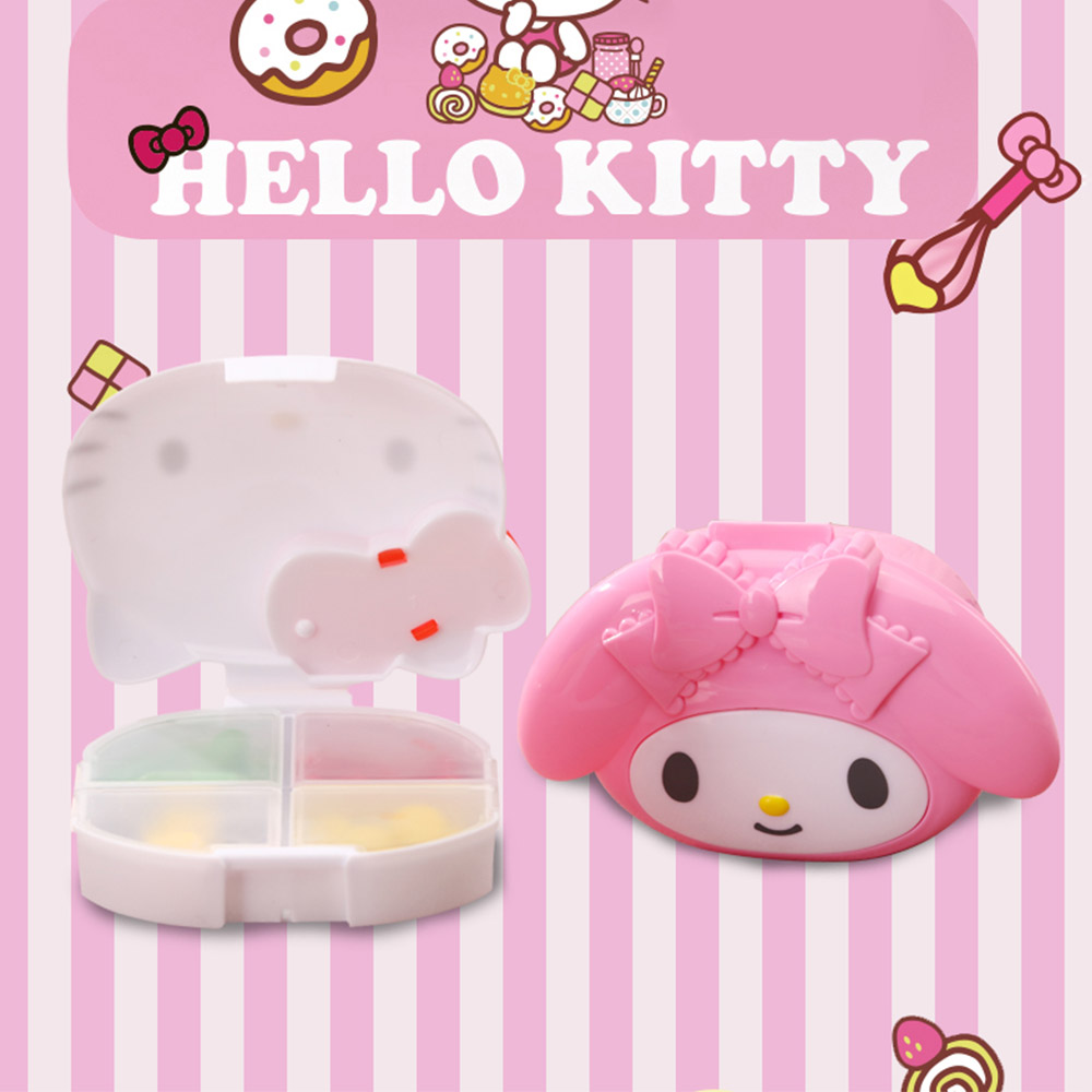 Cute Hello Kitty Pill Case with 4 Slots, Portable Cartoon Pill Box Storage for Medicine Tablet Vitamin 3