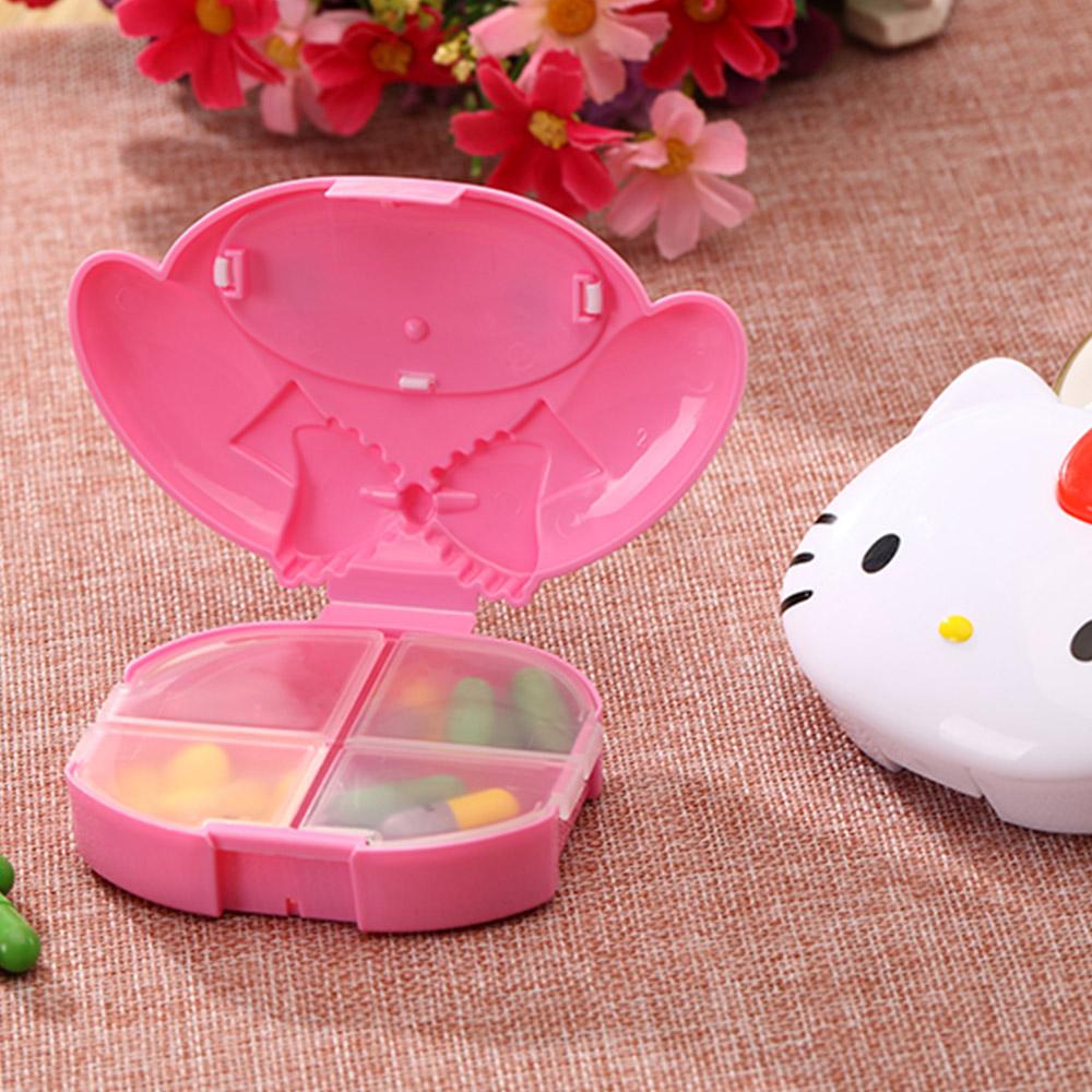 Cute Hello Kitty Pill Case with 4 Slots, Portable Cartoon Pill Box Storage for Medicine Tablet Vitamin 4