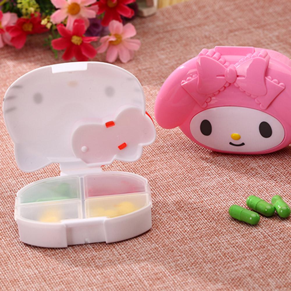 Cute Hello Kitty Pill Case with 4 Slots, Portable Cartoon Pill Box Storage for Medicine Tablet Vitamin 5