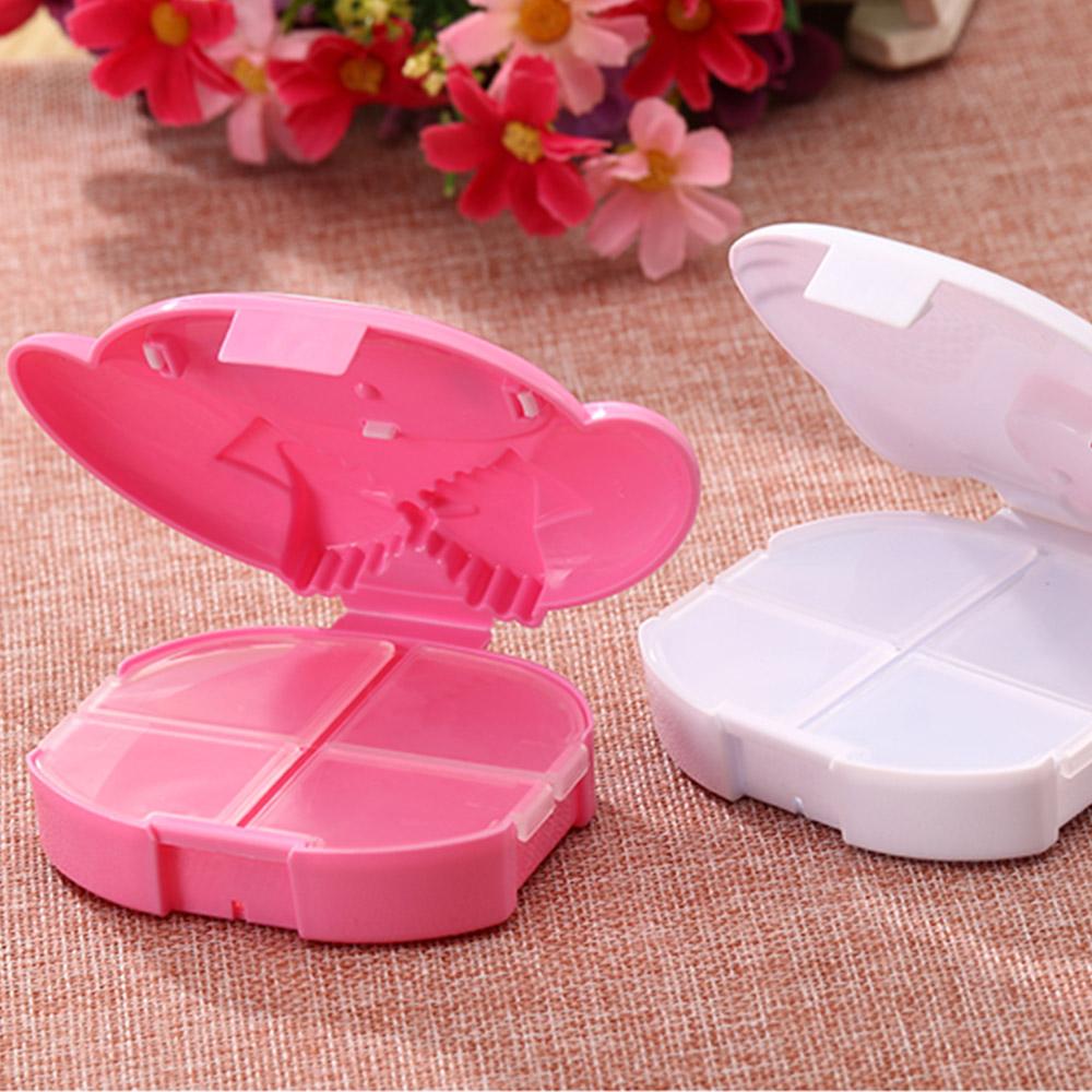 Cute Hello Kitty Pill Case with 4 Slots, Portable Cartoon Pill Box Storage for Medicine Tablet Vitamin 7