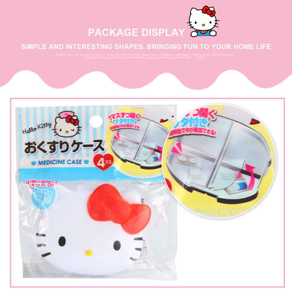 Cute Hello Kitty Pill Case with 4 Slots, Portable Cartoon Pill Box Storage for Medicine Tablet Vitamin 9