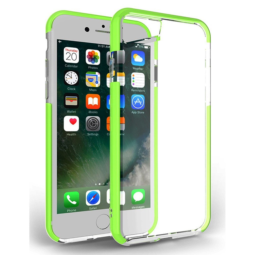 Shockproof IPhone 7 Clear Case, Soft TPU Cover Case with Lanyard Hole for iPhone 6 /6S & iPhone 7 4.7 Inch - Grass Green 7