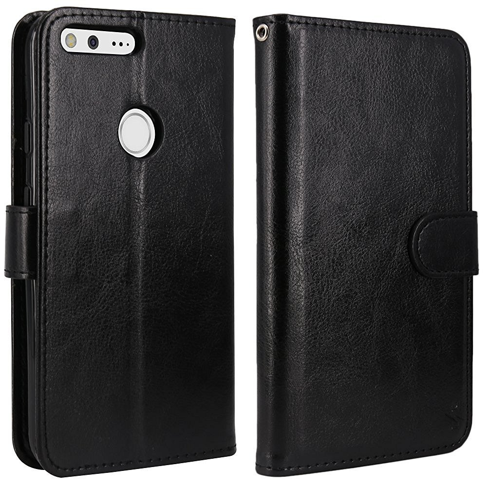Google Pixel PU Leather Flip Wallet Case with Card Slot and Kickstand Feature - Black 7