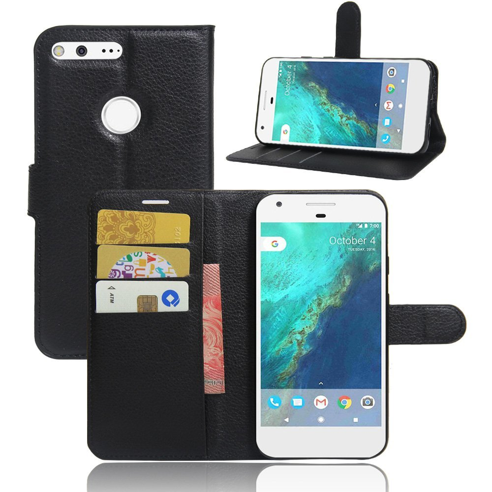 Google Pixel PU Leather Flip Wallet Case with Card Slot and Kickstand Feature - Black 5