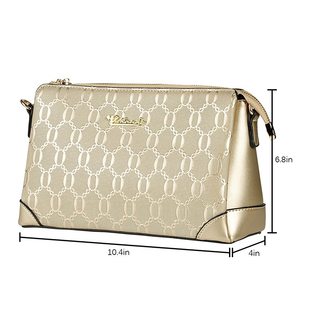 Champagne Gold Genuine Leather Handbag for Women, Fashion Women's Cross Body Bags with Zipper and Adjustable Strap 0