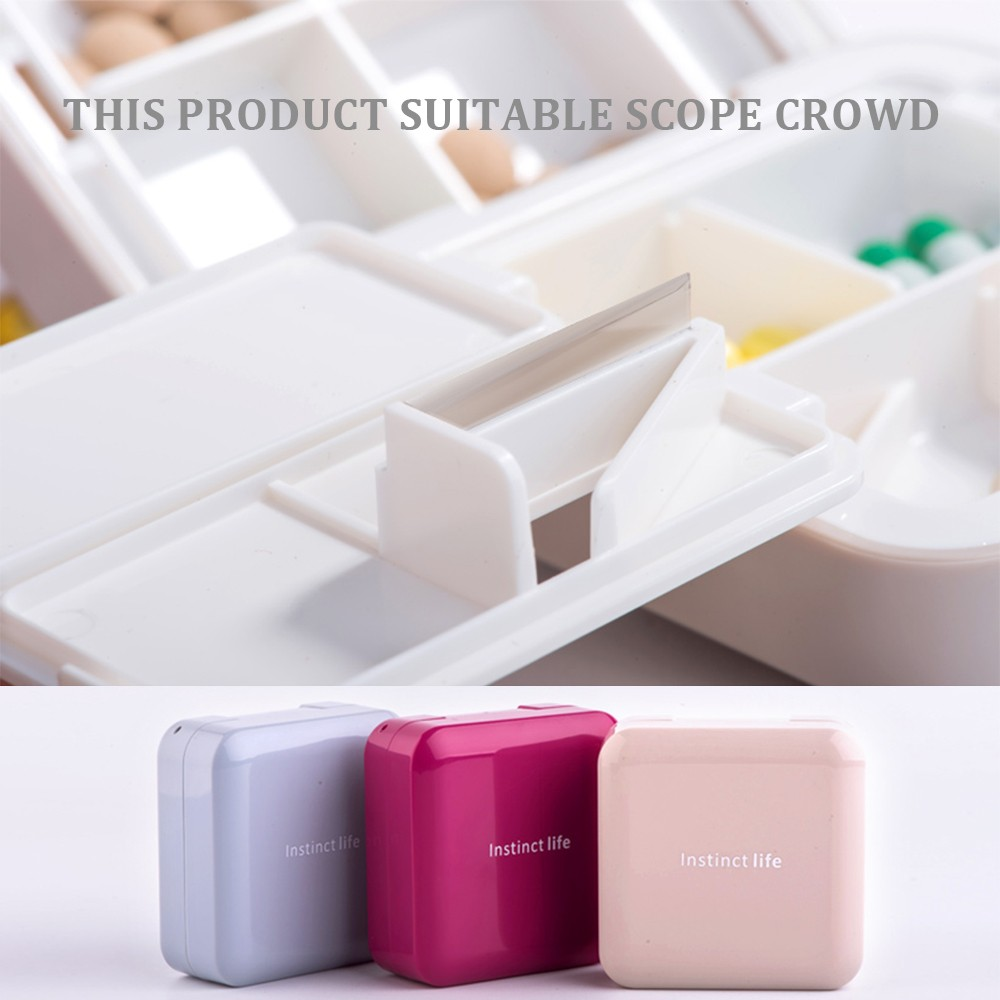 7-Day Travel Pill Organizer, Mini 8 Grids Portable Double-layer Medical Pill Box 7