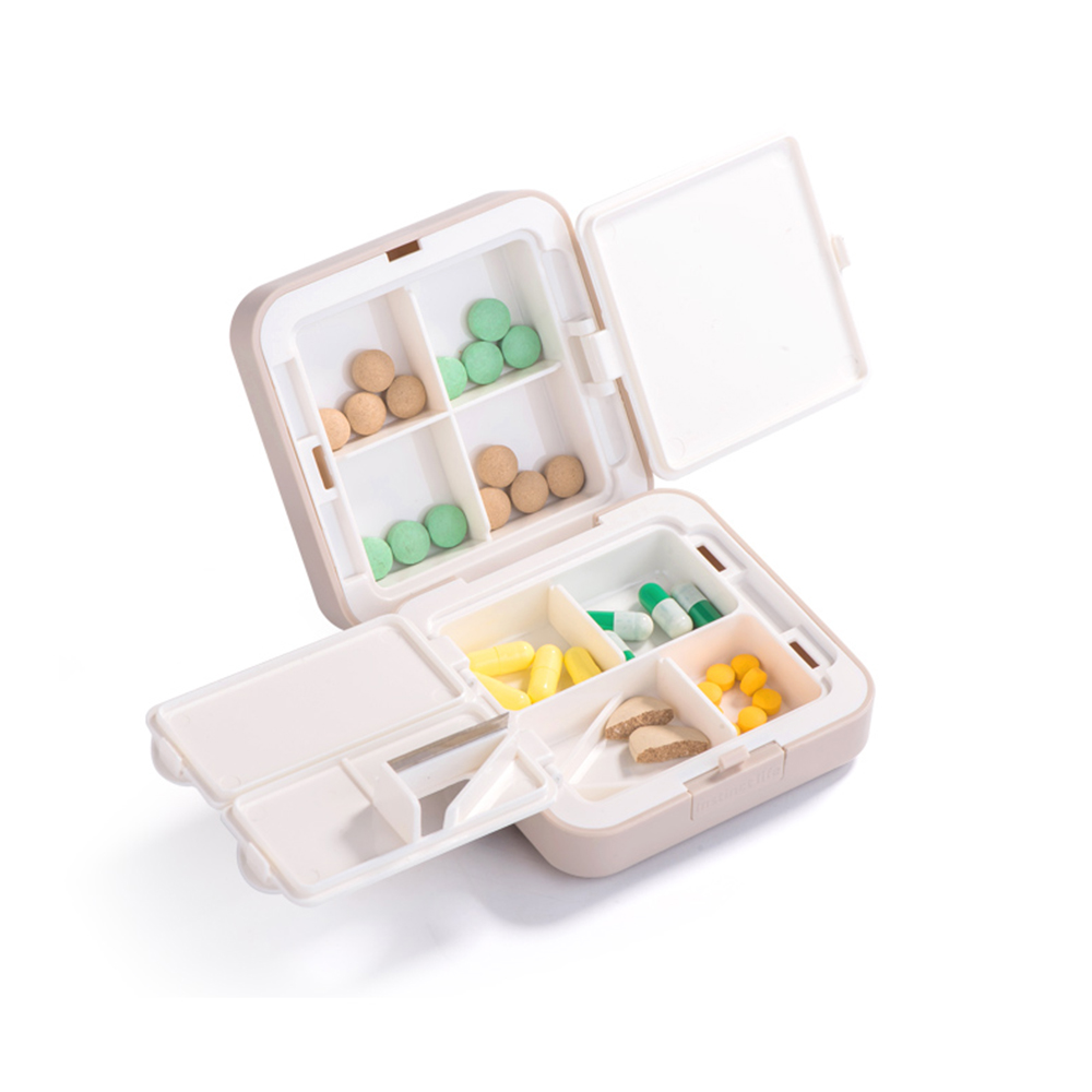 7-Day Travel Pill Organizer, Mini 8 Grids Portable Double-layer Medical Pill Box 10