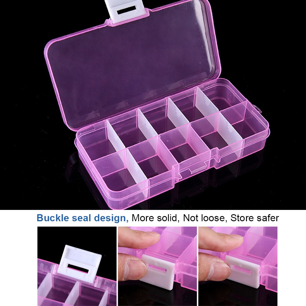 10 Slots Adjustable Pill Box For Weekly Use