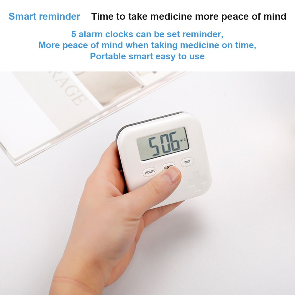 Daily Pill Organizer with Digital Alarm Clock Reminder, Mini Portable Pill Box with 5 Alarm Reminders for Pills/ Vitamin/ Supplements 3