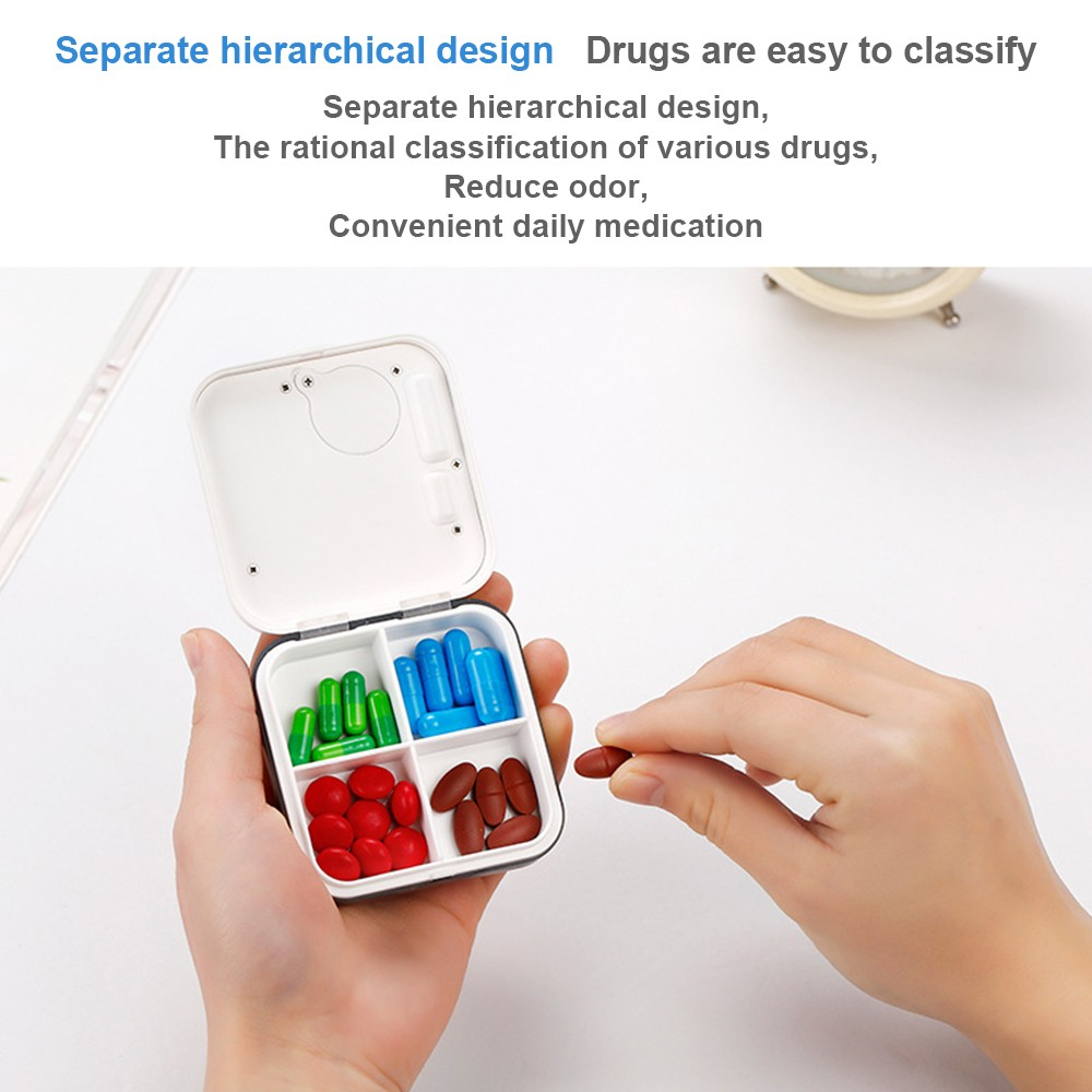 Daily Pill Organizer with Digital Alarm Clock Reminder, Mini Portable Pill Box with 5 Alarm Reminders for Pills/ Vitamin/ Supplements 4