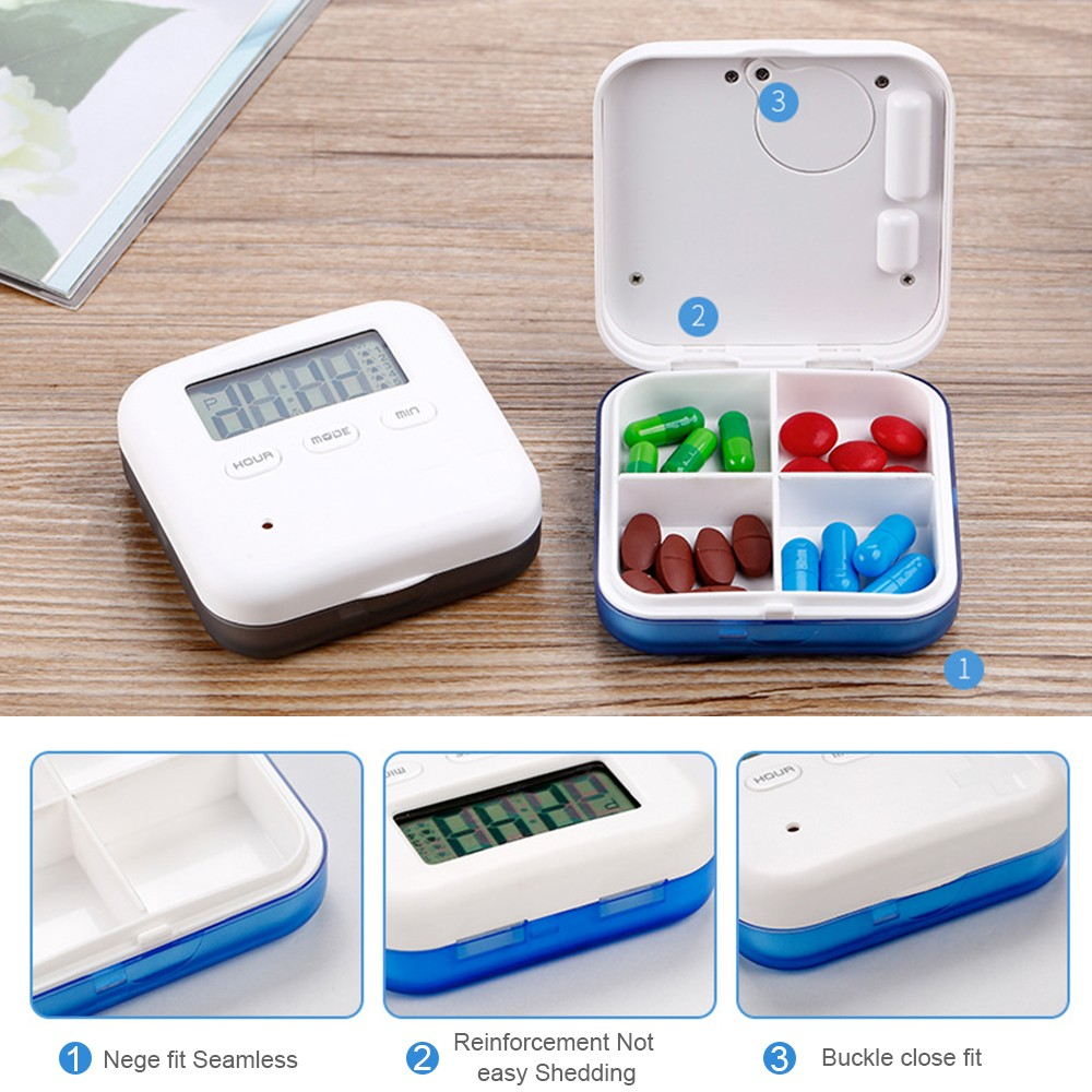 Daily Pill Organizer with Digital Alarm Clock Reminder, Mini Portable Pill Box with 5 Alarm Reminders for Pills/ Vitamin/ Supplements 5