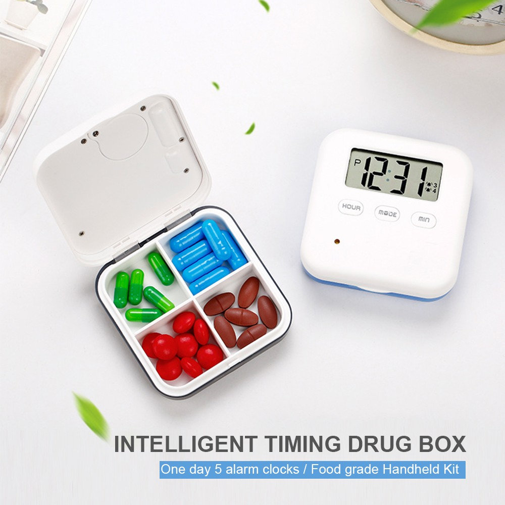 Daily Pill Organizer with Digital Alarm Clock Reminder, Mini Portable Pill Box with 5 Alarm Reminders for Pills/ Vitamin/ Supplements 8