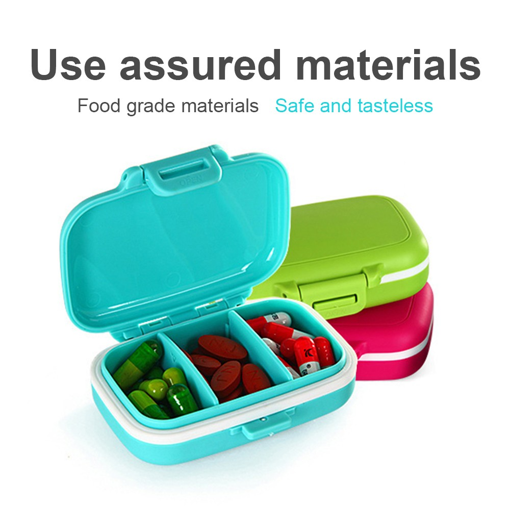 Waterproof Pill Case With 3 Removable Compartments, Daily Medication Carry Case For Pocket or Purse 4