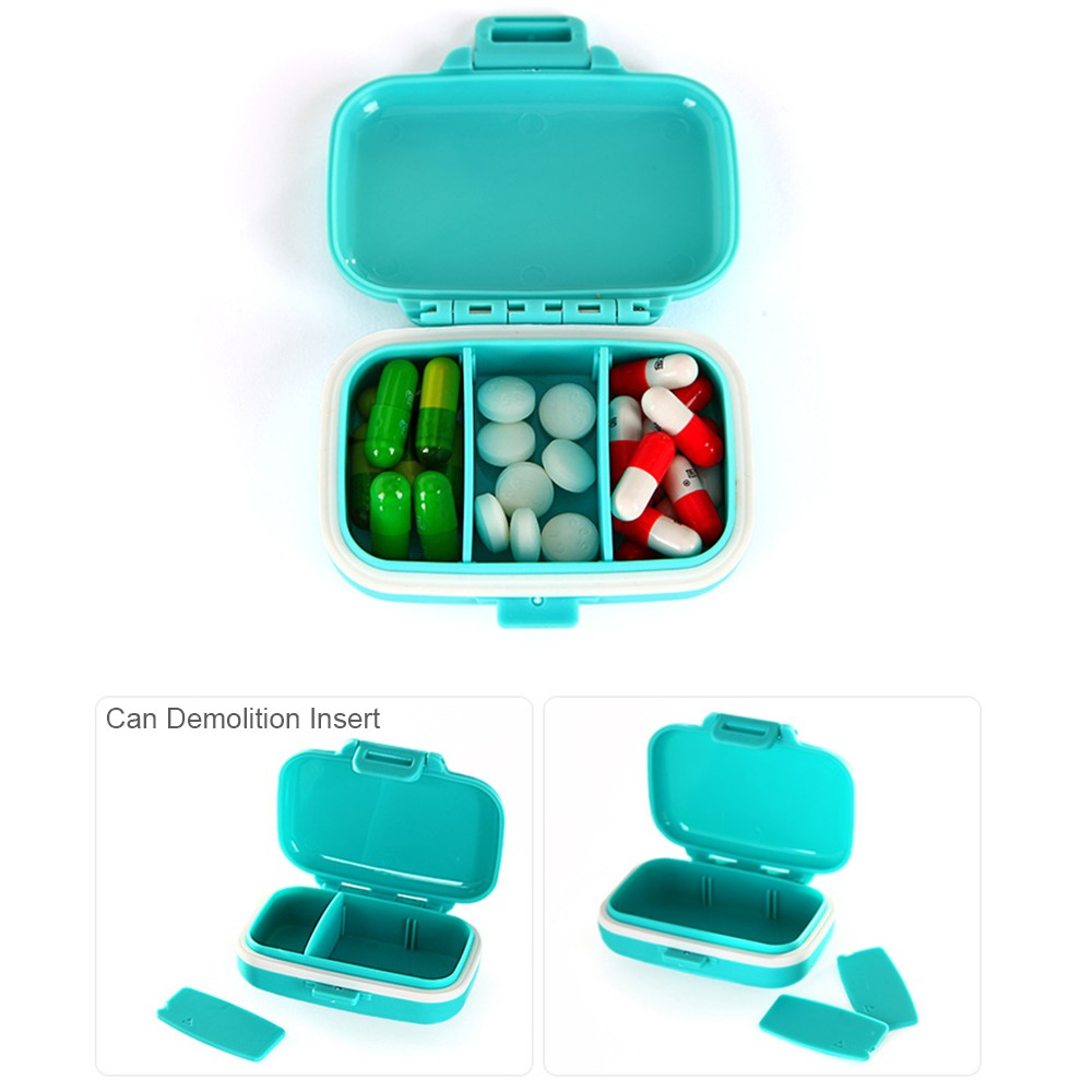 Waterproof Pill Case With 3 Removable Compartments, Daily Medication Carry Case For Pocket or Purse 5
