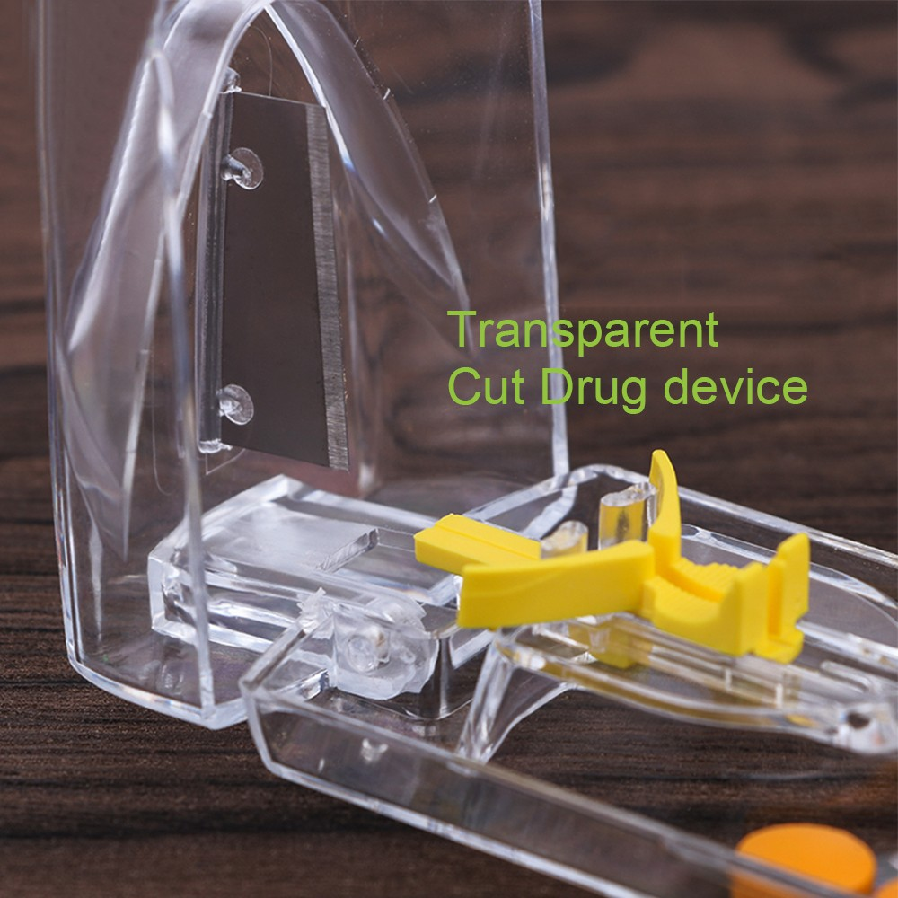 Pill and Tablet Cutter with Room for Storing Medication, Transparent Pill Cutter with Stainless Steel Blade 6