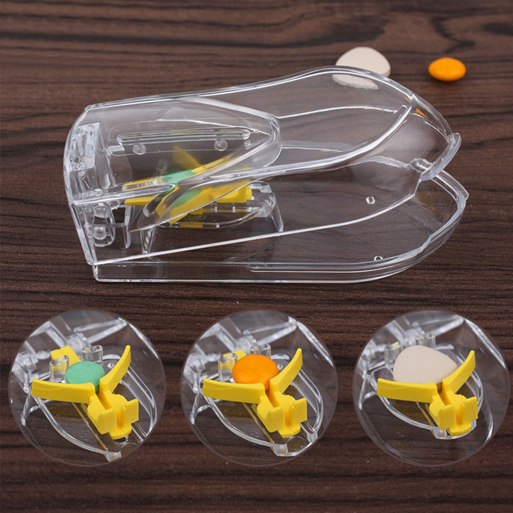 Pill and Tablet Cutter with Room for Storing Medication, Transparent Pill Cutter with Stainless Steel Blade 8