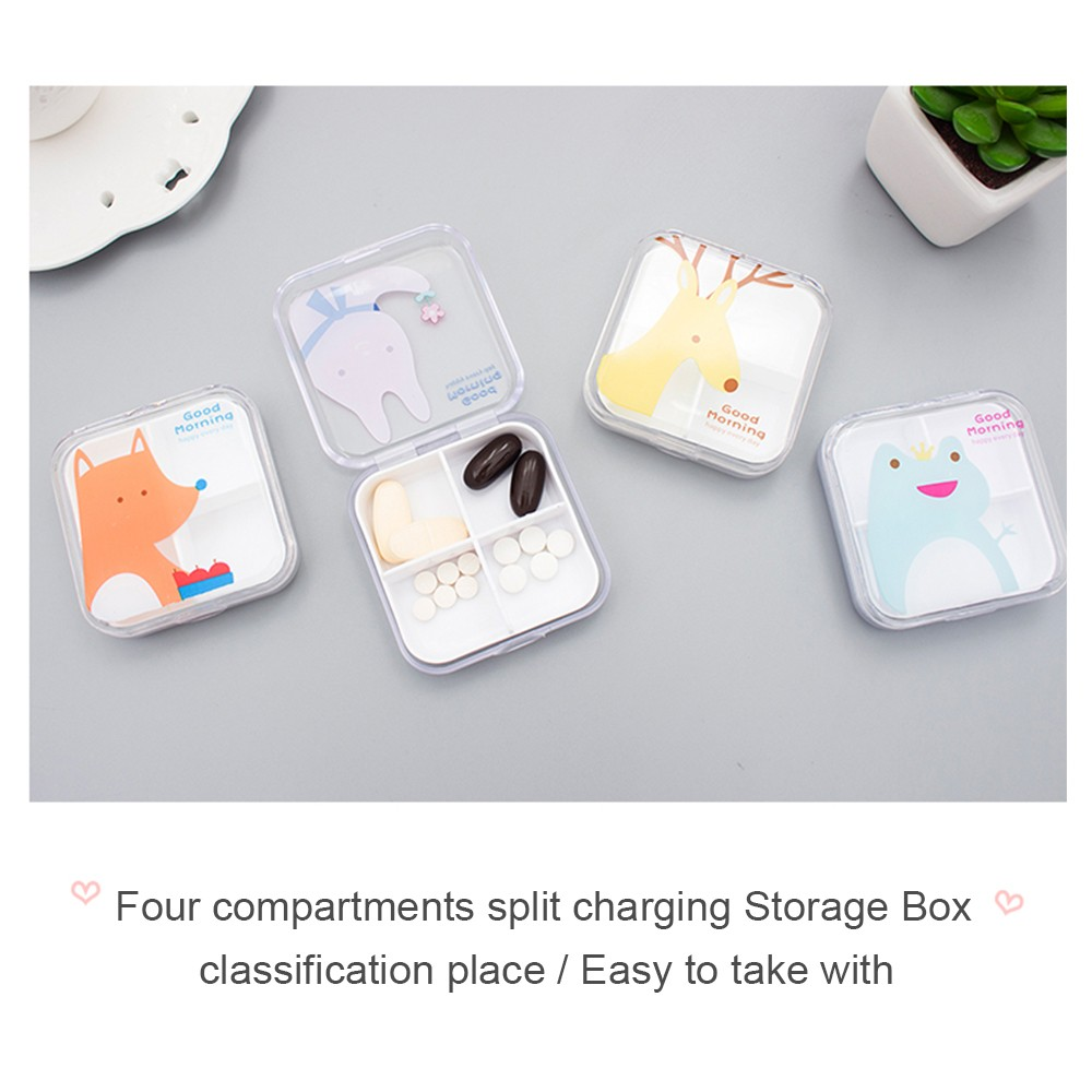 Lovely Cartoon Portable Pill Box, Transparent 4 Solt Pill Box For Daily or Travel Use 4