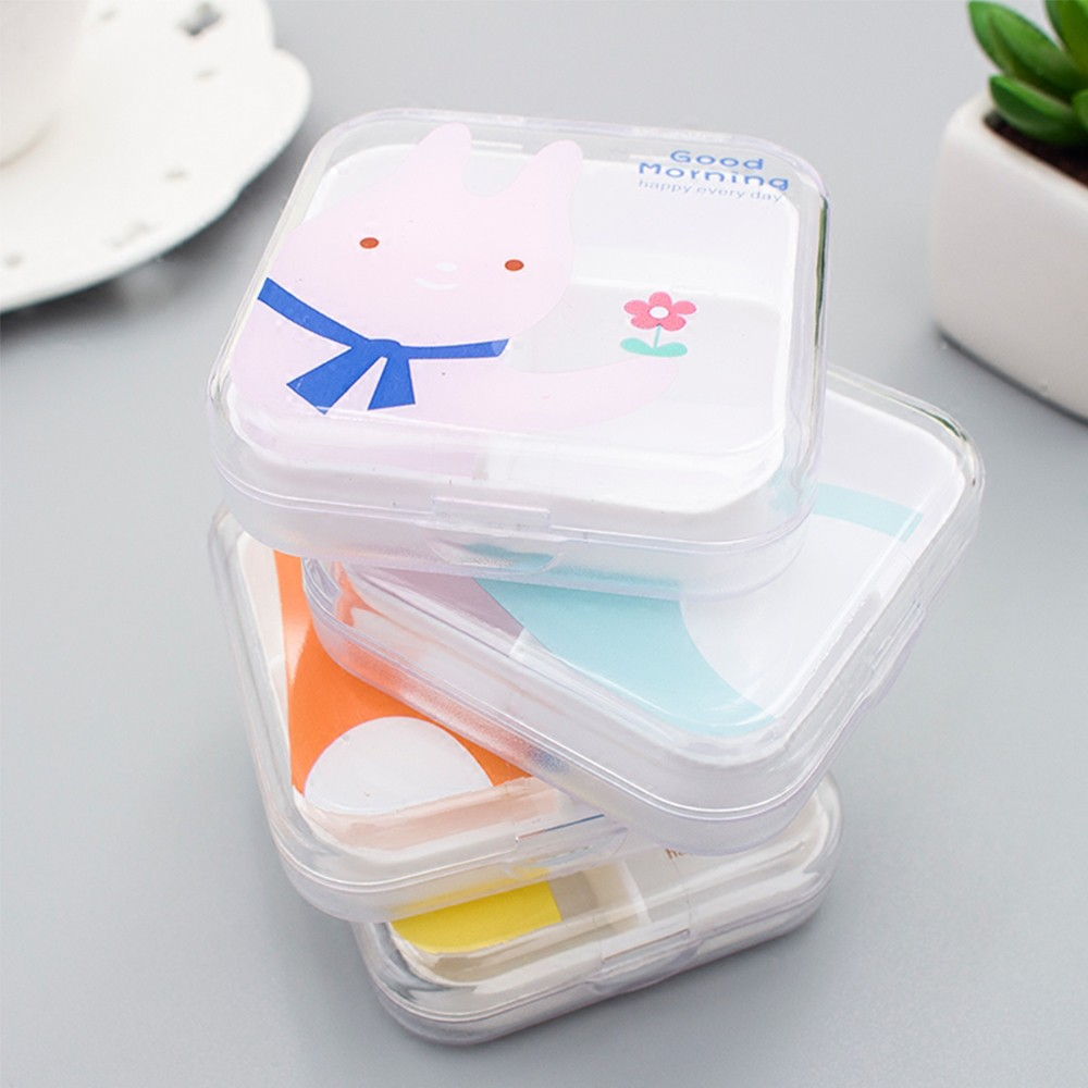 Lovely Cartoon Portable Pill Box, Transparent 4 Solt Pill Box For Daily or Travel Use 9