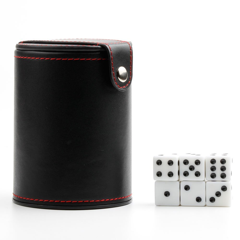 Leather Dice Cup with 6 Dot Dices