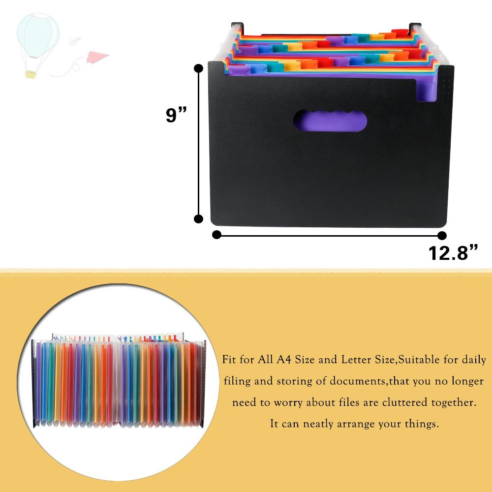 Expanding File Organizer with 24 Pockets for Office/ Business/ Study, Large Capacity Multi-Color A4 Accordion File Organizer 4