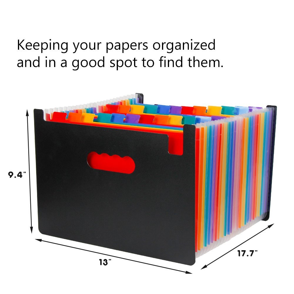 Expanding File Organizer with 24 Pockets for Office/ Business/ Study, Large Capacity Multi-Color A4 Accordion File Organizer 5