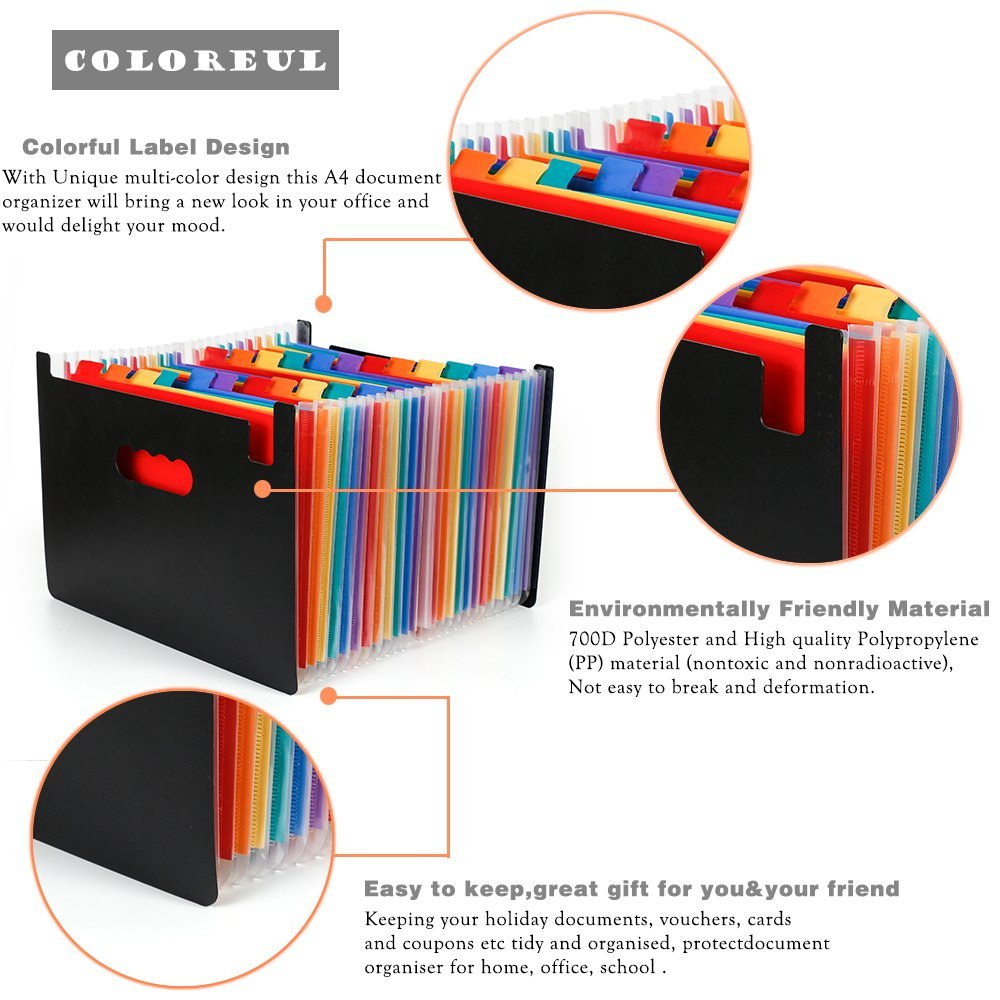 Expanding File Organizer with 24 Pockets for Office/ Business/ Study, Large Capacity Multi-Color A4 Accordion File Organizer 11