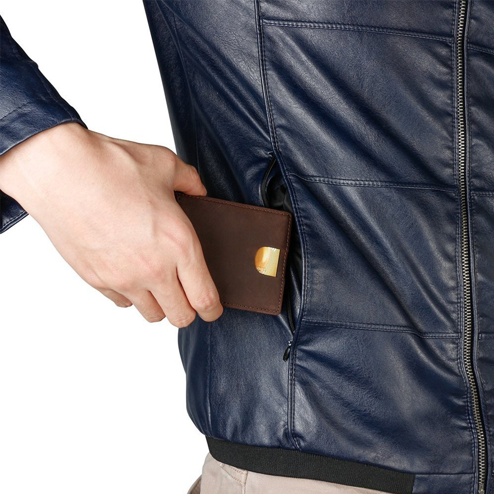 Slim Genuine Leather Wallet For Men, RFID Blocking Credit Card Holder with Automatic Pop-up Card Case 7