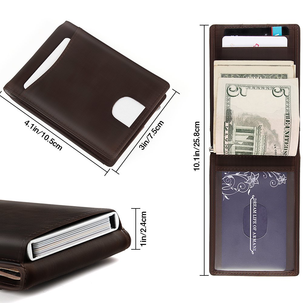 Slim Genuine Leather Wallet For Men, RFID Blocking Credit Card Holder with Automatic Pop-up Card Case 8