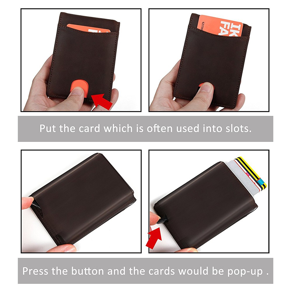 Slim Genuine Leather Wallet For Men, RFID Blocking Credit Card Holder with Automatic Pop-up Card Case 12