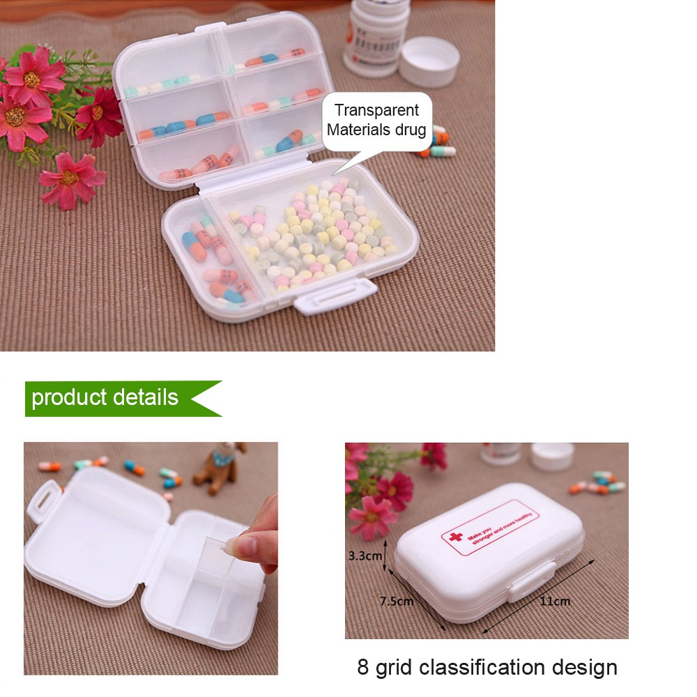 Weekly 8-Slot Pills/Vitamins Box, Portable Travel Pill Case for Purse or Pocket 3