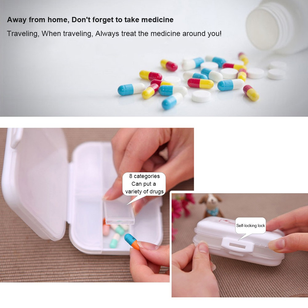Weekly 8-Slot Pills/Vitamins Box, Portable Travel Pill Case for Purse or Pocket 6