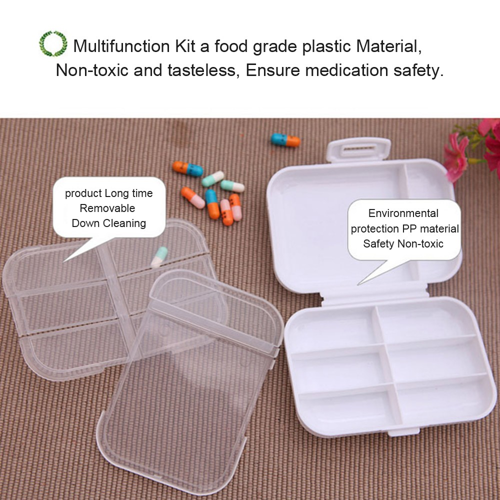 Weekly 8-Slot Pills/Vitamins Box, Portable Travel Pill Case for Purse or Pocket 8