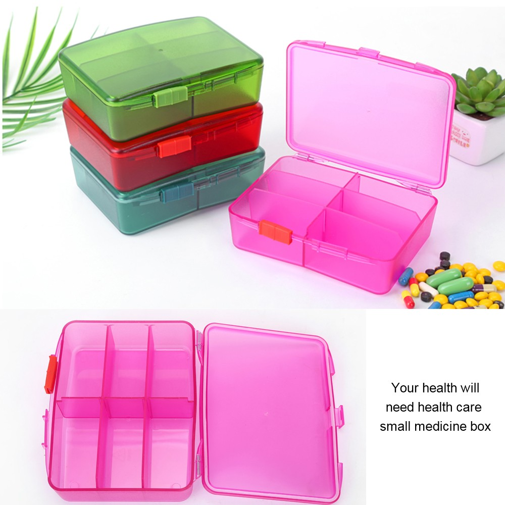 Weekly Travel Pill Organizer, Airtight 6 Compartments Pill Case for Pills, Vitamin, Fish Oil 2