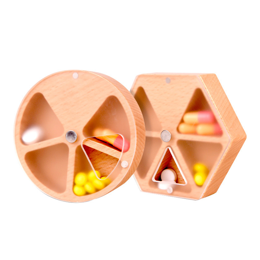 Wooden Pill Box with 4 Compartments