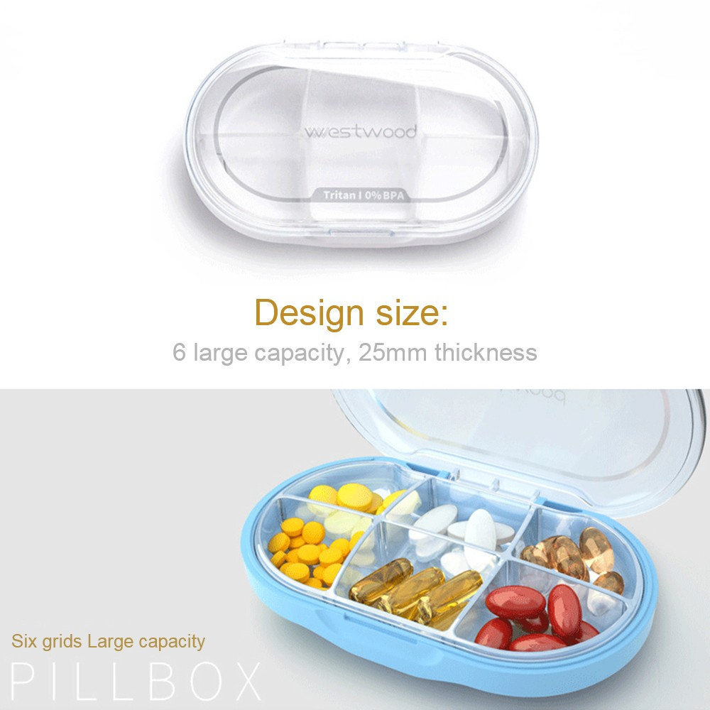 Easy Carry Waterproof Pill Box with 6 Compartments